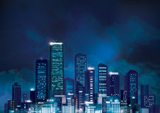 Vector night cityscape. Stock Photo