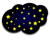 Vector night cloud with stars. Vector art illustration Royalty Free Stock Photography