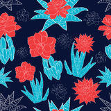 Vector Night Desert Cacti Flowers Seamless Pattern Stock Images