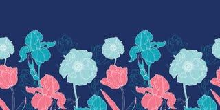 Vector Night Flowers Seamless Repeat Pattern   Stock Photo