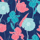 Vector Night Flowers Seamless Repeat Pattern  Stock Photography