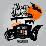 Vector  Night Halloween Poster invitation with Royalty Free Stock Photo