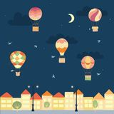 Vector night landscape with air balloons and town. Vector illustration of landscape with hot air balloons in night sky in town. Isolated flat cartoon air Stock Photography