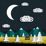 Vector Night Landscape. Paper Cut Trees and Clouds. Mountains on Background Royalty Free Stock Images