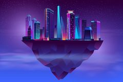 Free Vector Night Neon Megapolis On Soaring Island Royalty Free Stock Image - 139899106