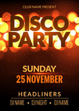 Vector night party poster template with shining golden lights background. Disco club flyer event design invitation. Royalty Free Stock Images