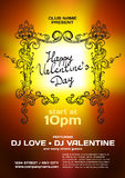 Vector night party valentine's day. Template poster graphic Stock Images