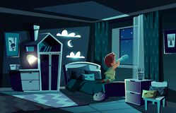 Vector night room, boy watching by spyglass stock illustration