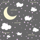Vector night scene with moon and stars. Seamless pattern Stock Photos
