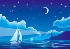 Vector night seascape with sailboat and lighthouse Stock Photography