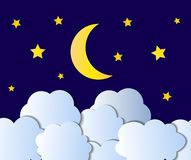 Vector Night Sky, Cartoon Illustration, Background, Bright Yellow Moon, Stars and White Clouds Shining on Blue. vector illustration