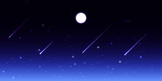 Vector night sky with moon and shooting stars Royalty Free Stock Photos