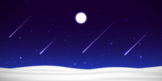 Vector night sky with moon, shooting stars and snow Stock Images