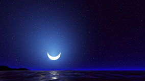 Vector night sky with ocean, moon stars  Stock Photography