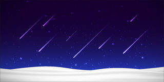 Vector night sky with shooting stars and snow Stock Photos