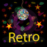Vector nightclub.  Retro style. Background disco party, the bright and sparkling sphere Royalty Free Stock Photo