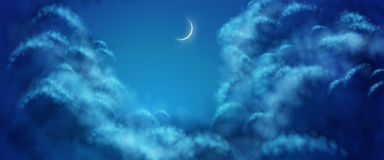 Vector Nightly Clouds Stock Image