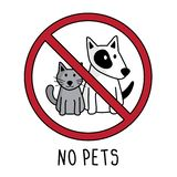 Vector ninguna muestra del símbolo de los animales domésticos Dibujo de la mano del garabato ningún gato y perro aislados en el f libre illustration