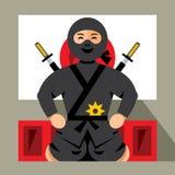 Vector Ninja and dojo. Flat style colorful Cartoon illustration. Royalty Free Stock Images