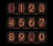 Vector nixie tube with digits Stock Photos