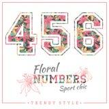 Vector números florais para t-shirt, cartazes, cartão e outro usos Fotografia de Stock