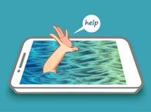 No mobile phone phobia. stock illustration