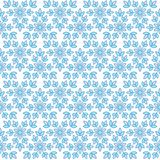 Ice crystals flat stylized snowflakes pattern. Vector non-dimensional half-dropped seamless pattern with snowflakes on the white background Royalty Free Stock Image