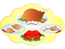 Vector Non-Veg Food Items. Set of four vector non-veg food items. Turkey, chicken, fish and crab Royalty Free Stock Photos
