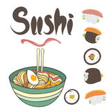 Vector Noodles and sushi. Hand drawn illustration of noodle soup and sushi Stock Images