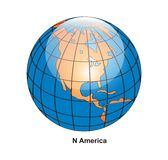 Vector North America Globe. Surrounded by white background Stock Illustration