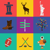 Vector north america travel flat color. Vector format eps 10. Flat colors Stock Photos