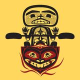 Vector north american native fisher man. Vector illustration of a  north american native fisher man, stylization of tribal art Stock Photo