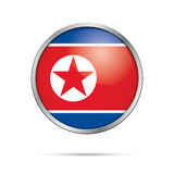 Vector North-Korean flag button. North Korea flag in glass butto Stock Images