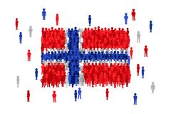 Vector Norway state flag formed by crowd of cartoon people royalty free illustration