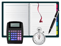 Vector nota met calculator, pen en chronometer Stock Afbeelding