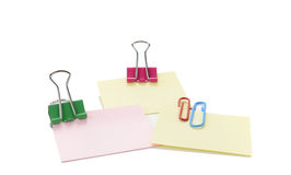 Vector Note Paper With Clip. Different sheets of note papers and color paper clips stock photo