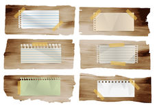 Vector note papers stick on wood planks Royalty Free Stock Photography