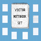 Vector Notebook Notepad Set. Include realistic, hand drawn, musi Royalty Free Stock Image