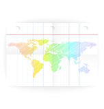 Vector notepad ruled blank page with folds and map Royalty Free Stock Images