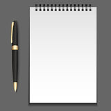 Vector notepad template on springs with a pen. stock illustration