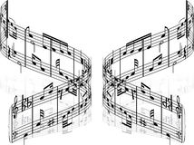 Vector notes. Abstract music background with different notes and lines Stock Images