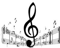 Vector notes. Music background with different notes on the white royalty free illustration
