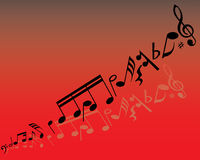 Vector notes red. Abstract music background with different notes and lines Stock Image