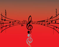 Vector notes red. Abstract music background with different notes and lines stock illustration