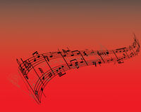 Vector notes red. Abstract music background with different notes and lines vector illustration
