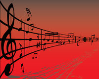 Vector notes red. Abstract music background with different notes and lines royalty free illustration
