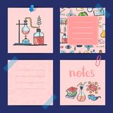 Vector notes templates set with sketched science or chemistry elements and cute lettering. Illustration of note chemistry sketch science Royalty Free Stock Photography