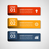 Vector number banners template for infographics. 3 steps business concept Stock Photography