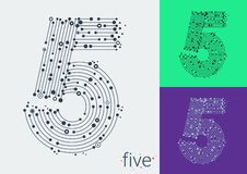 Vector number five on a bright and colorful background. The image in the style of techno, created by interlacing lines and points. vector illustration