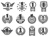 Vector number one retro corporate identity logos and labels Royalty Free Stock Images